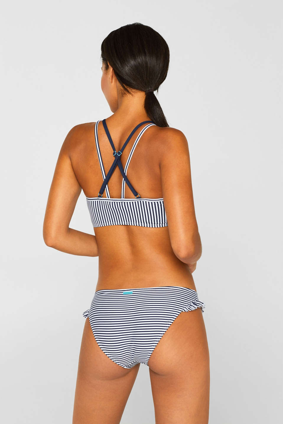 Padded high-neck top with crossed over straps, NAVY, detail image number 1