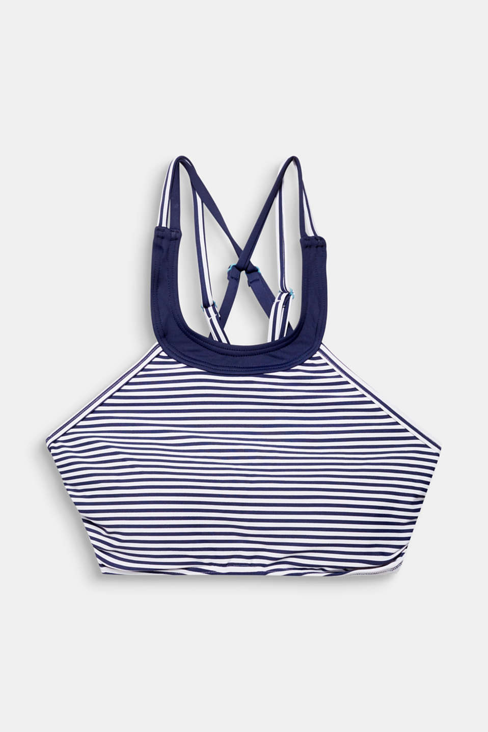 Padded high-neck top with crossed over straps, NAVY, detail image number 4