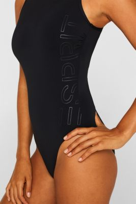 Unpadded swimsuit with a logo print, BLACK, detail