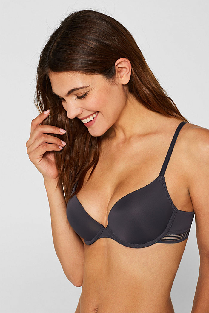 Push-up bra with sheer stripes