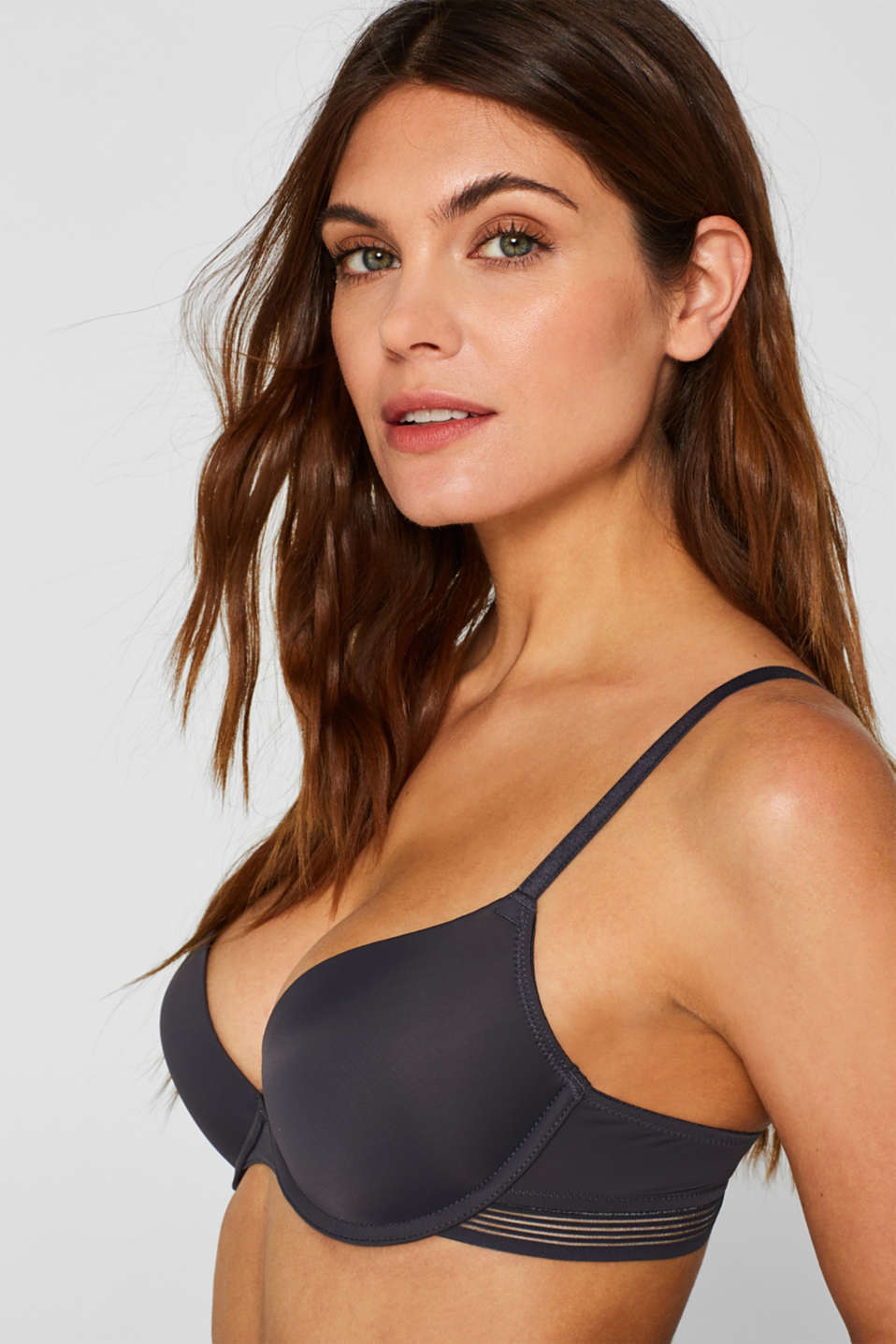Push-up bra with sheer stripes, ANTHRACITE, detail image number 3