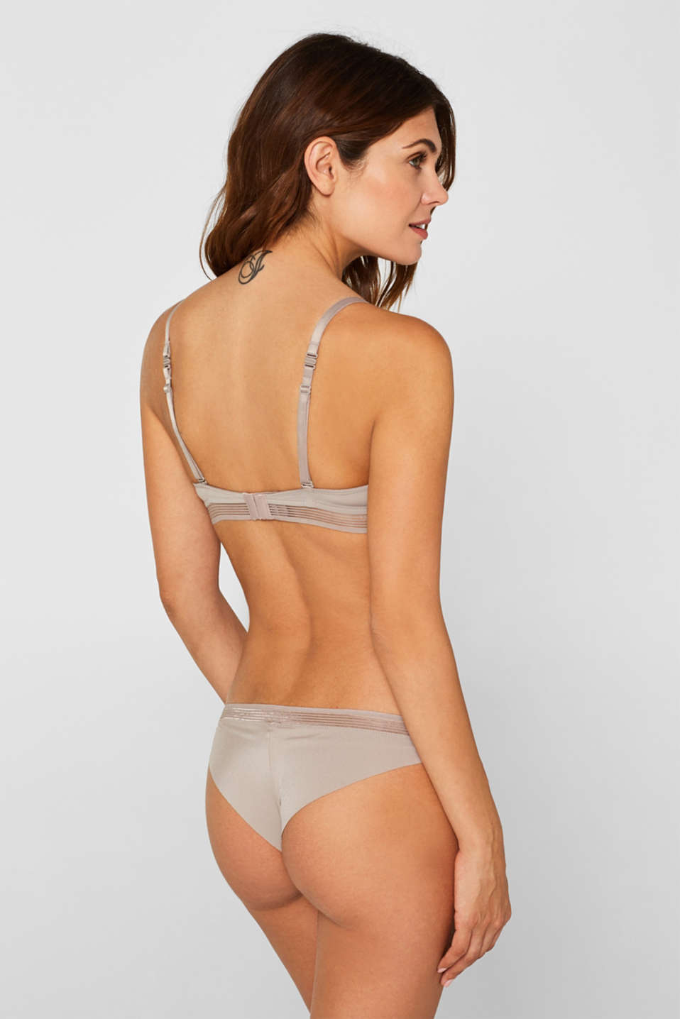 Push-up bra with sheer stripes, LIGHT TAUPE, detail image number 1