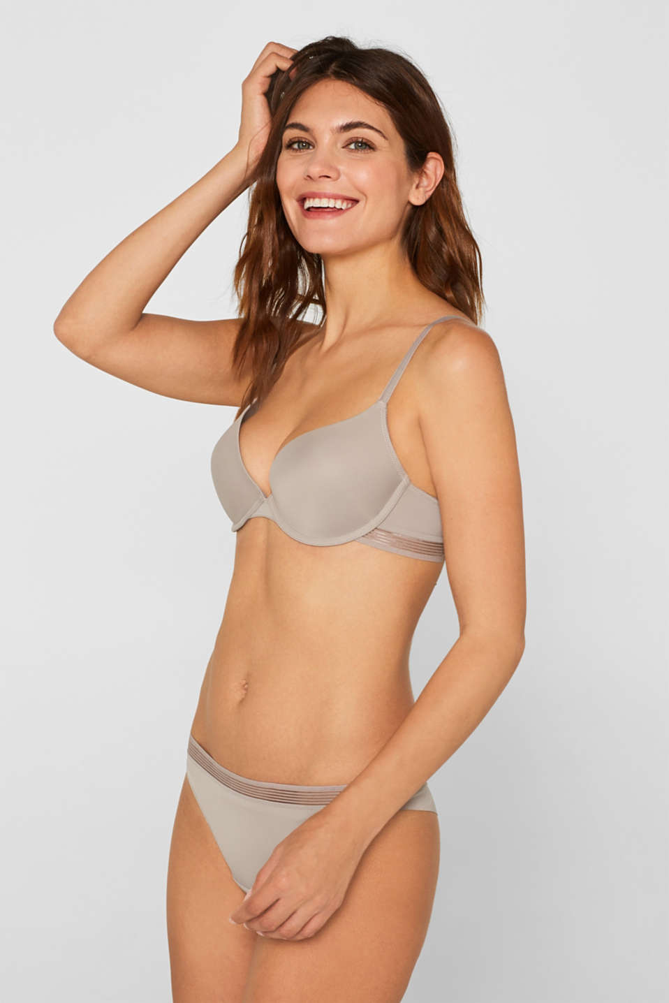 Push-up bra with sheer stripes, LIGHT TAUPE, detail image number 2