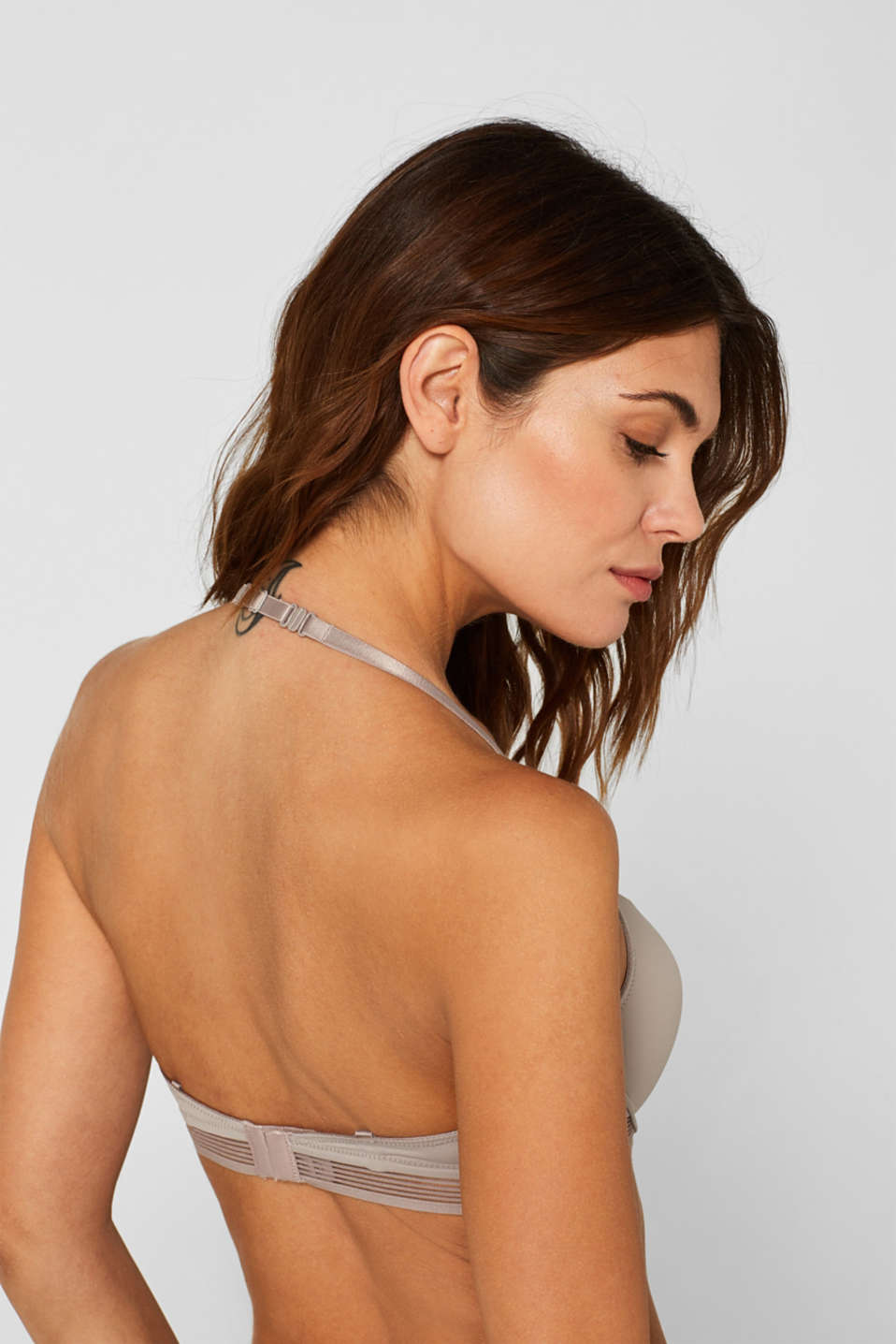 Push-up bra with sheer stripes, LIGHT TAUPE, detail image number 4