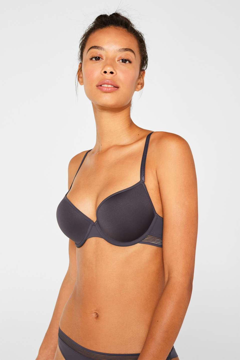 Esprit - Padded underwire bra with sheer stripes