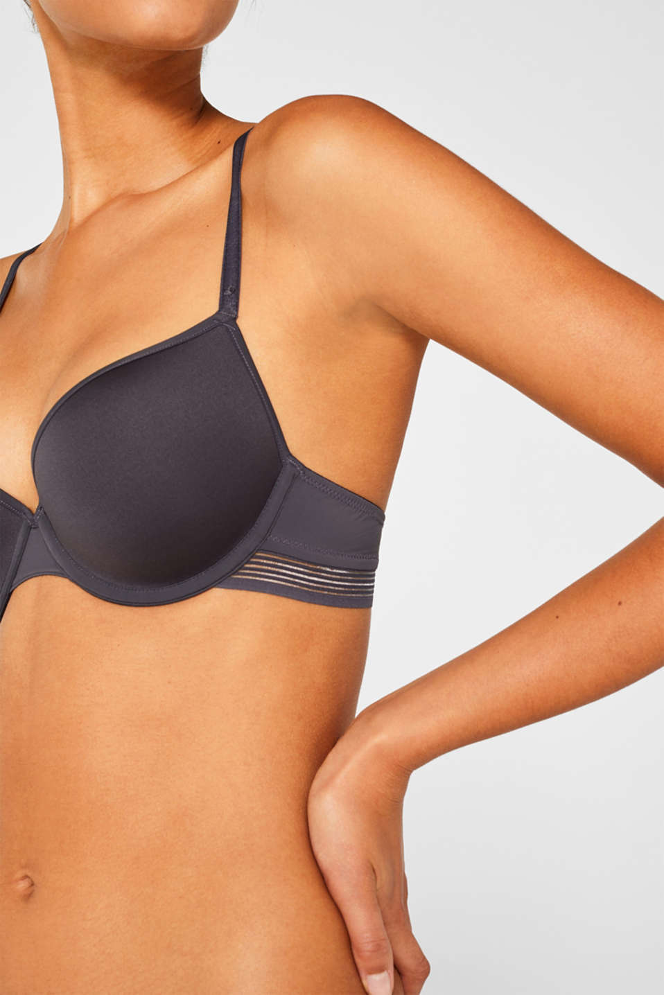 Padded underwire bra with stripes, ANTHRACITE, detail image number 2