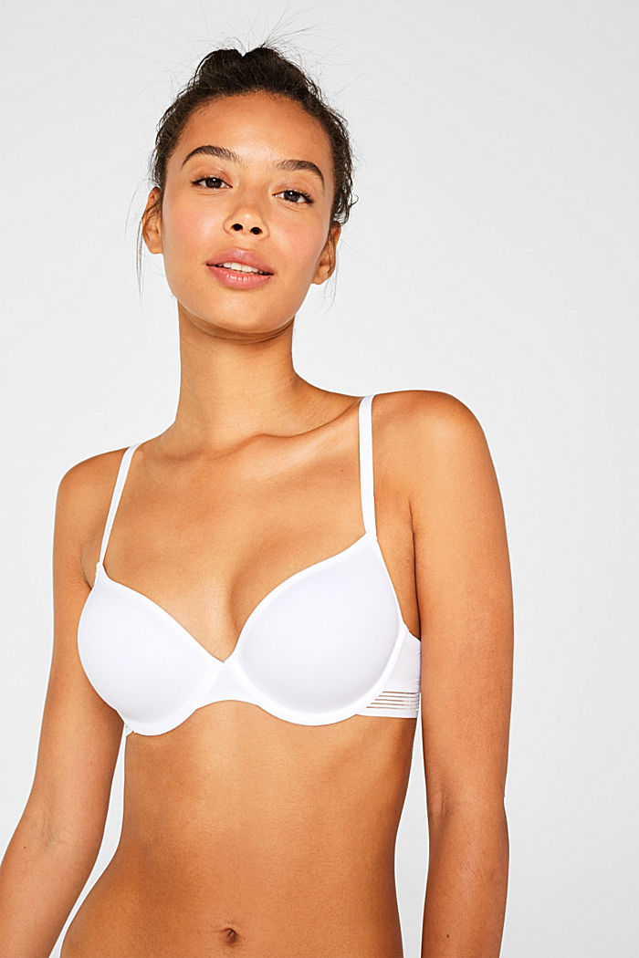 Padded underwire bra with stripes
