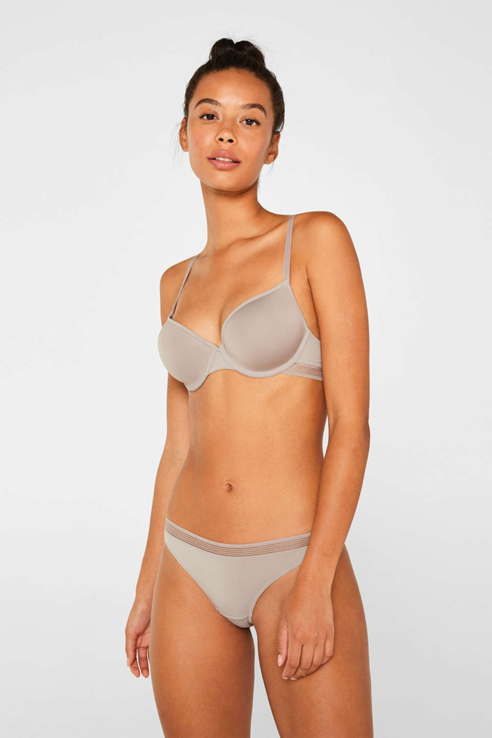 Padded underwire bra with stripes, LIGHT TAUPE, detail image number 0