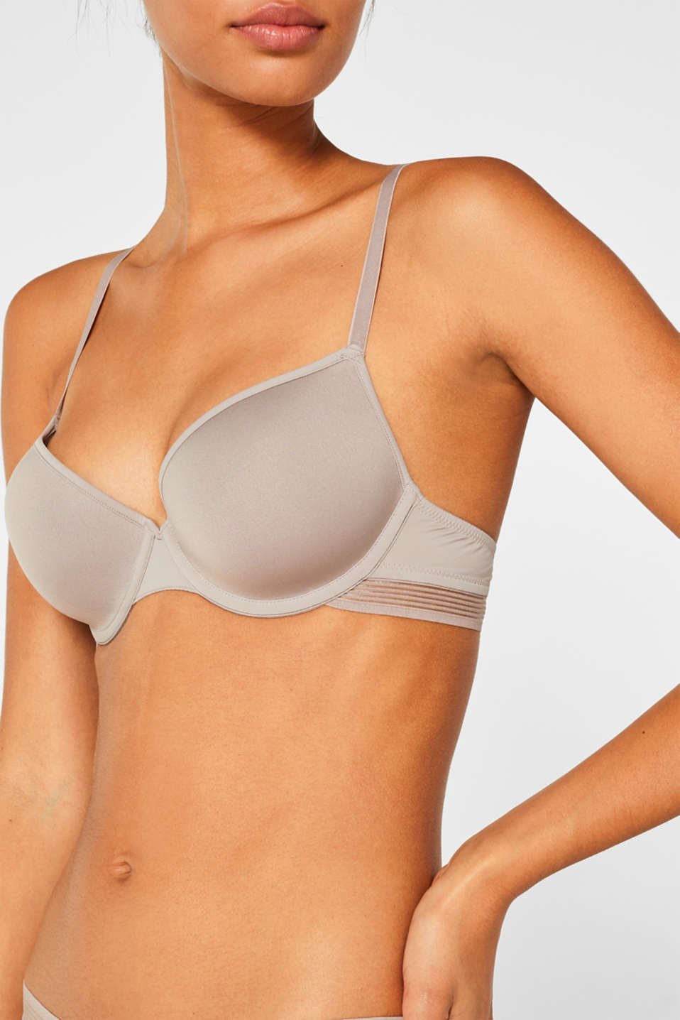 Padded underwire bra with stripes, LIGHT TAUPE, detail image number 2