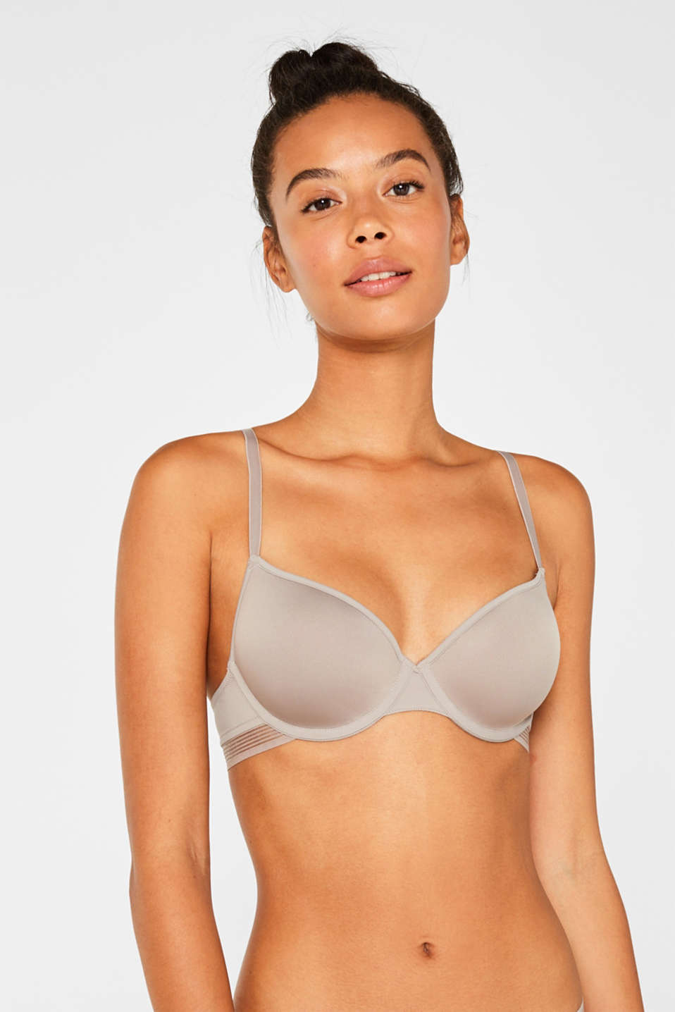 Padded underwire bra with stripes, LIGHT TAUPE, detail image number 3