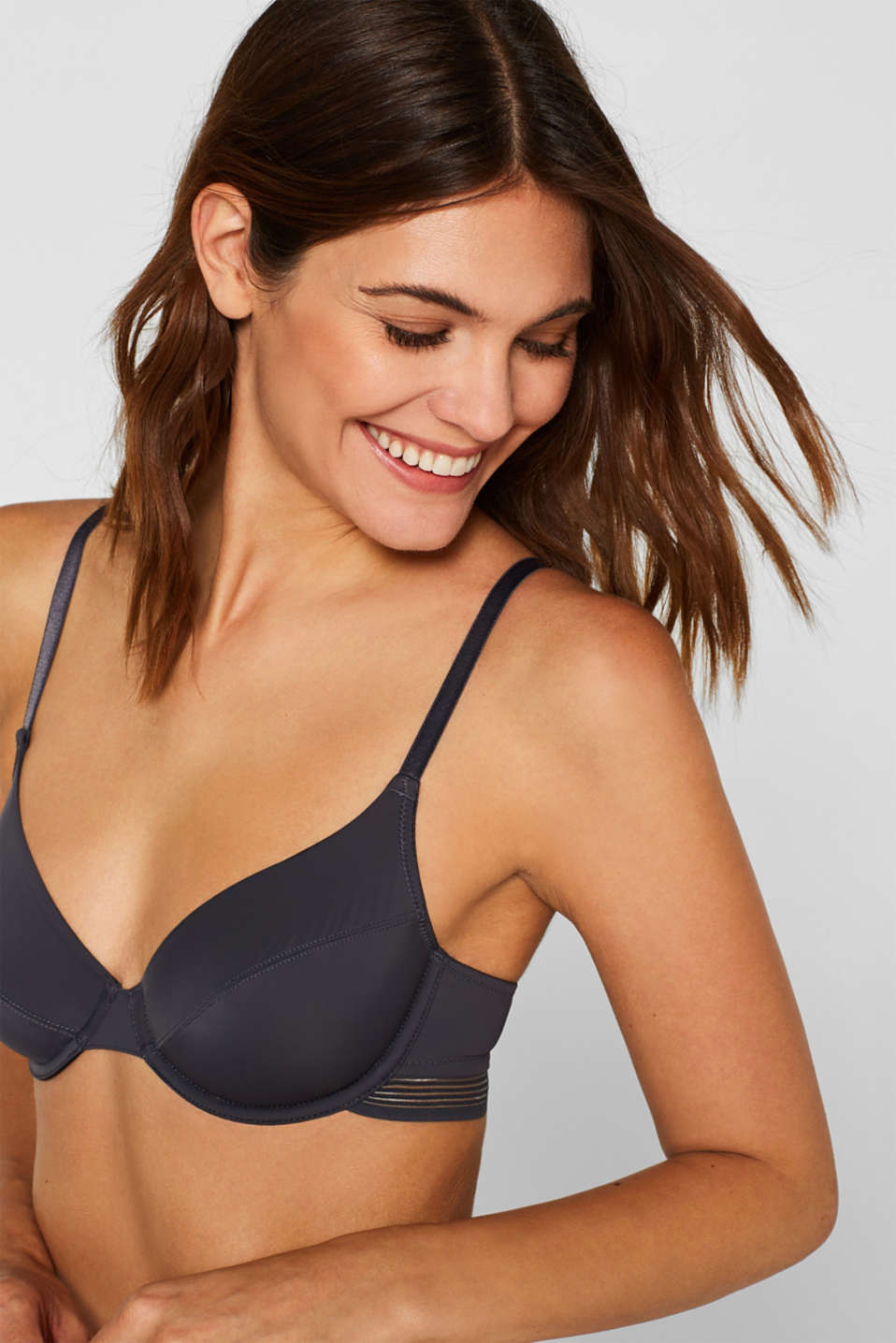 Esprit - Unpadded underwire bra with sheer stripes