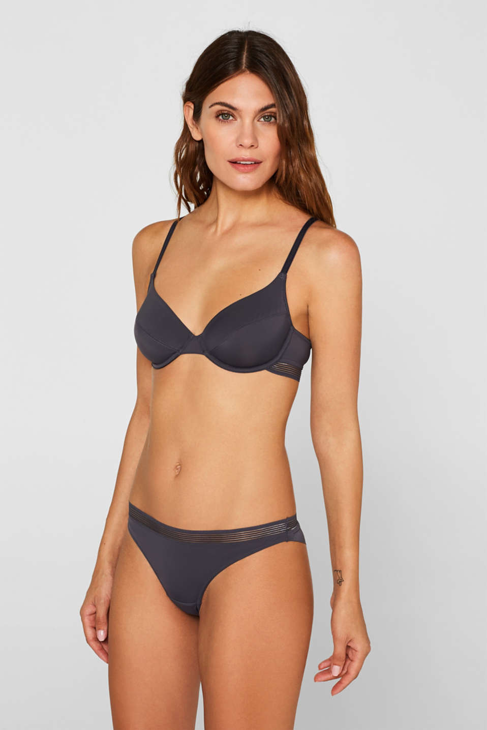 Unpadded underwire bra with sheer stripes, ANTHRACITE, detail