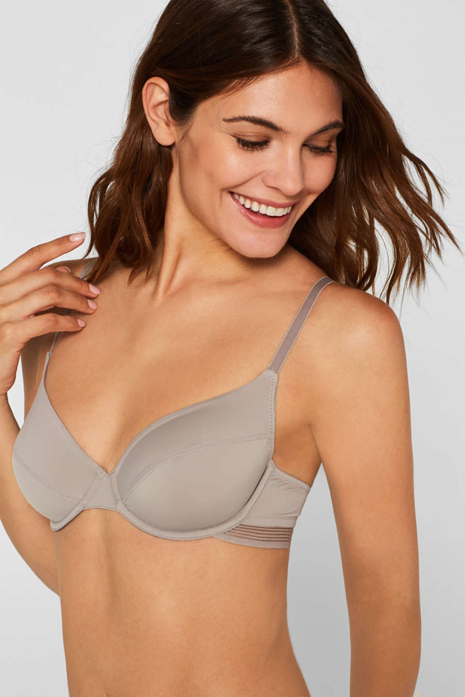 Unpadded underwire bra with sheer stripes, LIGHT TAUPE, detail image number 0