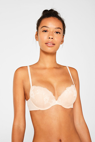 Push-up bra with striped details