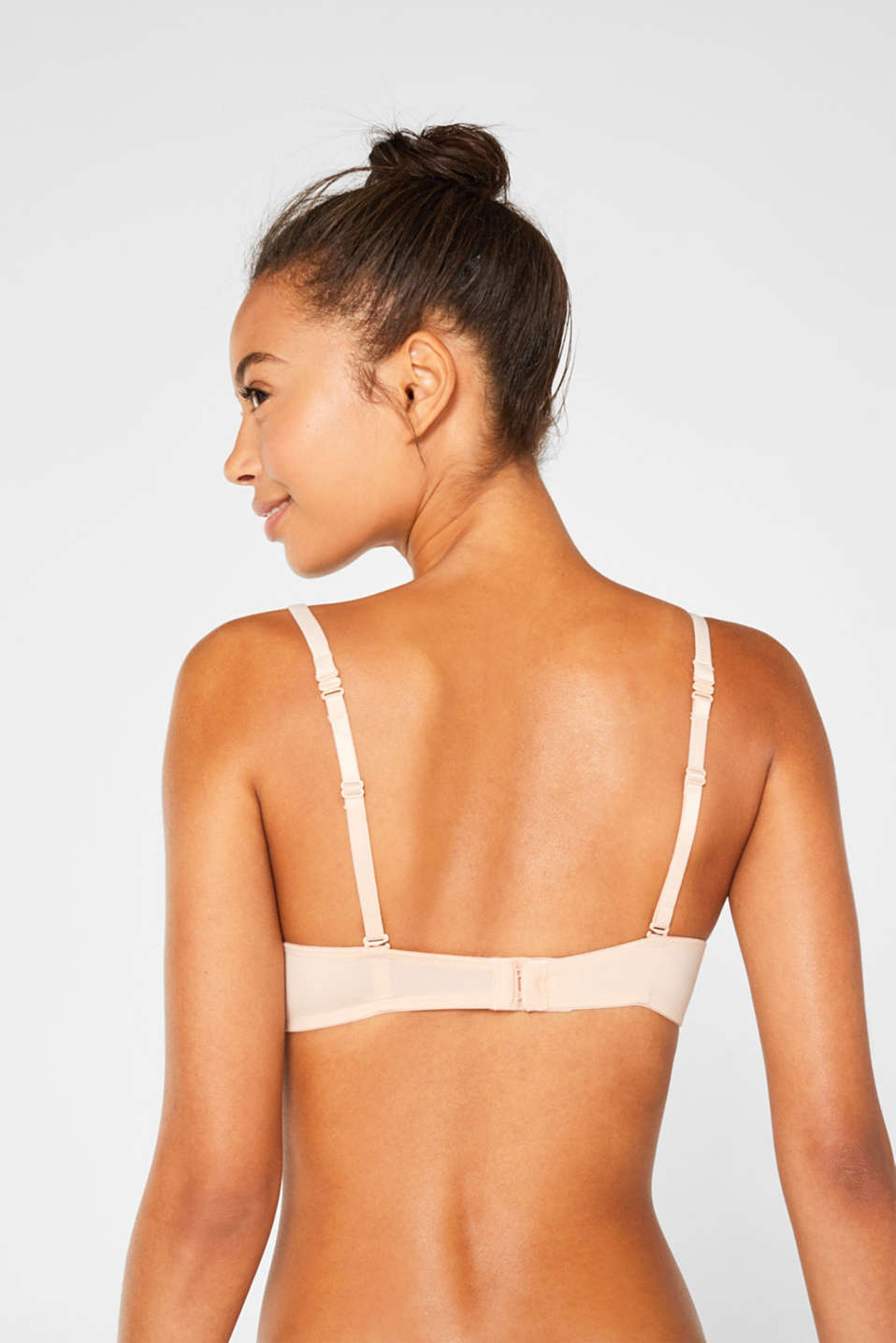 Push-up bra made of lace with striped details, PASTEL ORANGE, detail image number 1