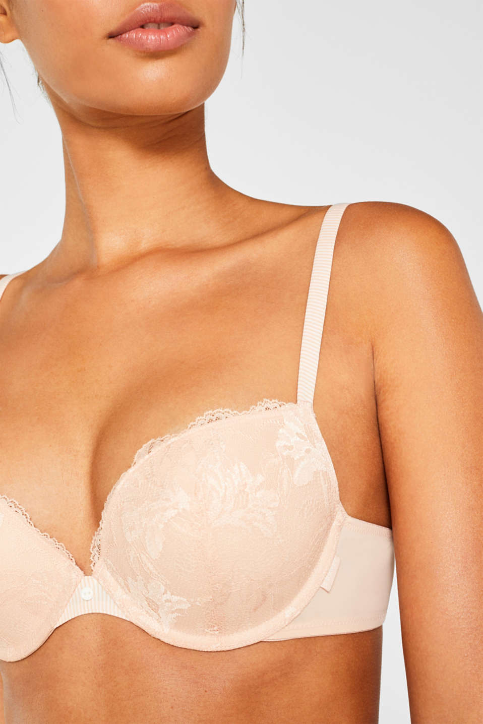 Push-up bra made of lace with striped details, PASTEL ORANGE, detail image number 2