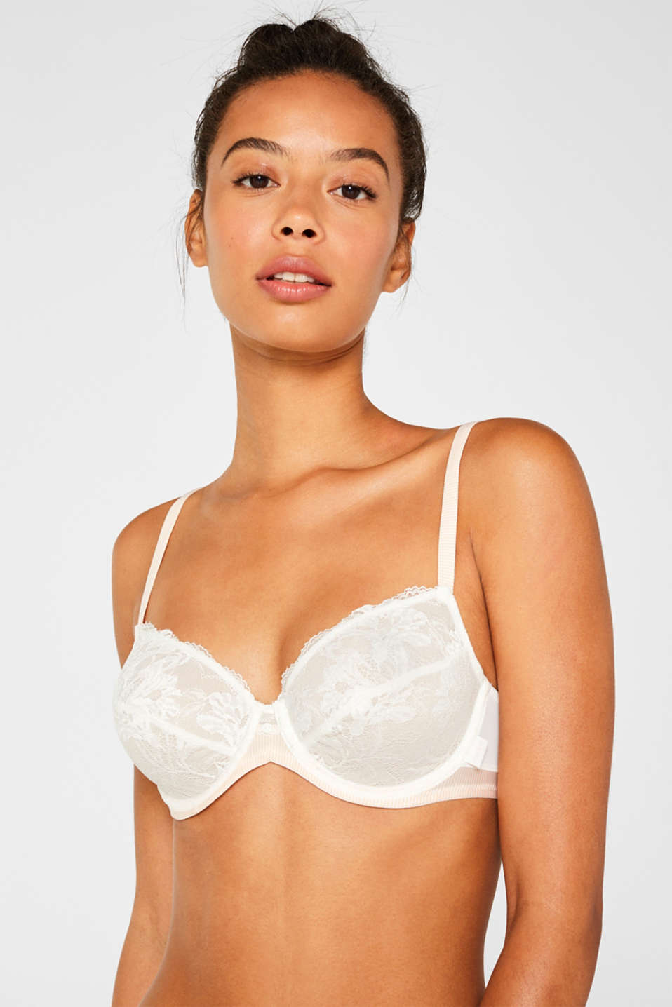 Non-padded, underwire fabric blend bra, OFF WHITE, detail image number 0