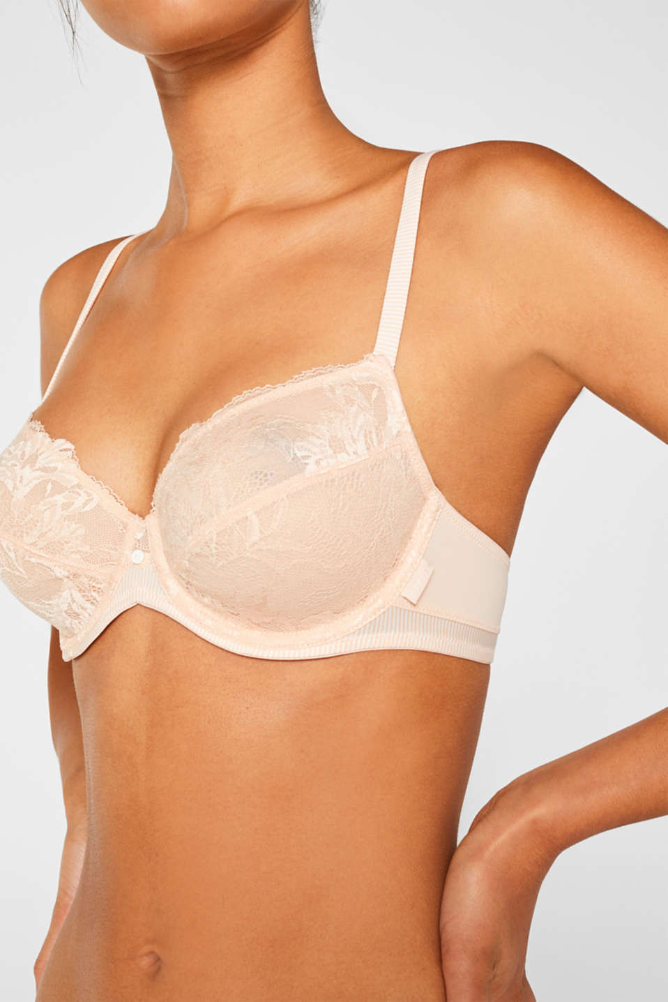Non-padded, underwire fabric blend bra, PASTEL ORANGE, detail image number 2