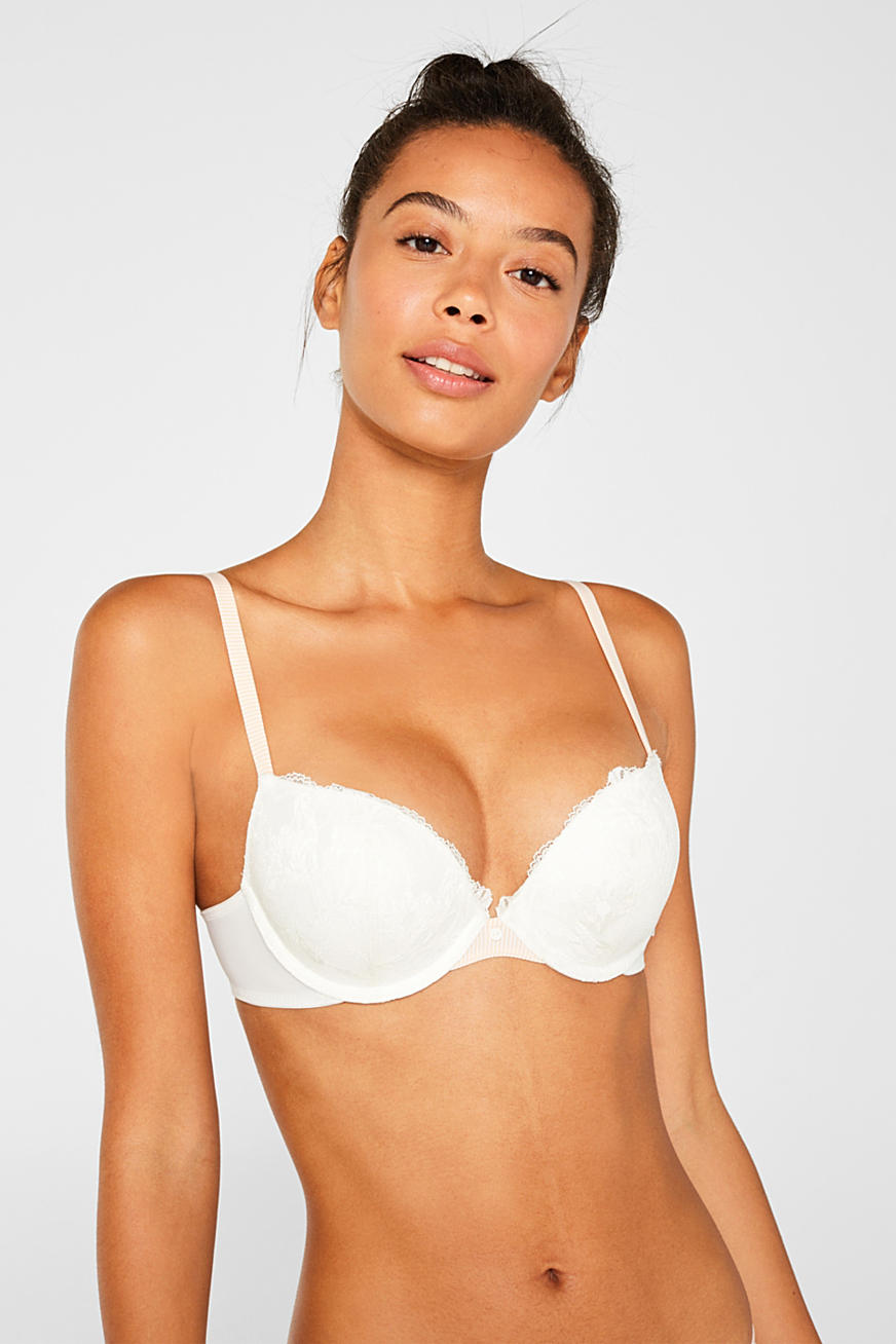 Push-up bra with lace and stripes