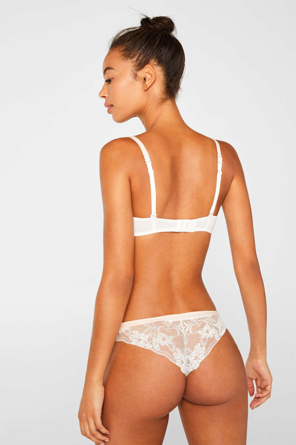 Push-up bra with lace and stripes, OFF WHITE, detail image number 1