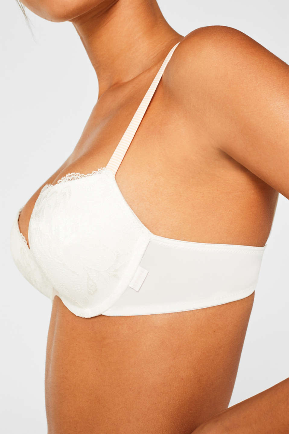 Push-up bra with lace and stripes, OFF WHITE, detail image number 2