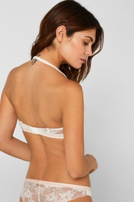 Mixed material padded underwire bra, OFF WHITE, detail