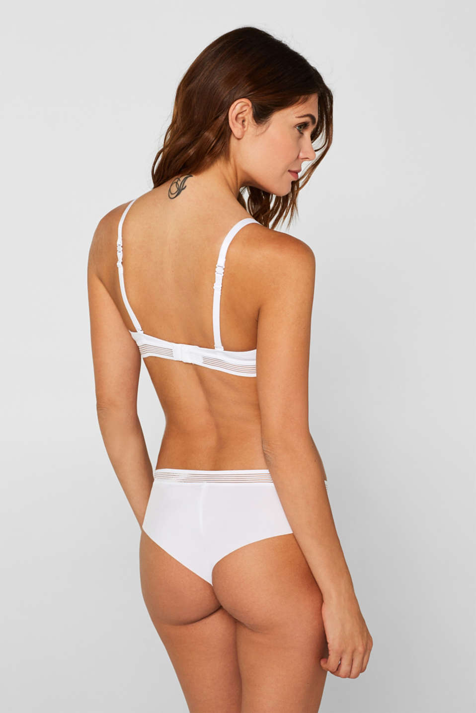 Push-up bra with sheer stripes, WHITE, detail image number 1