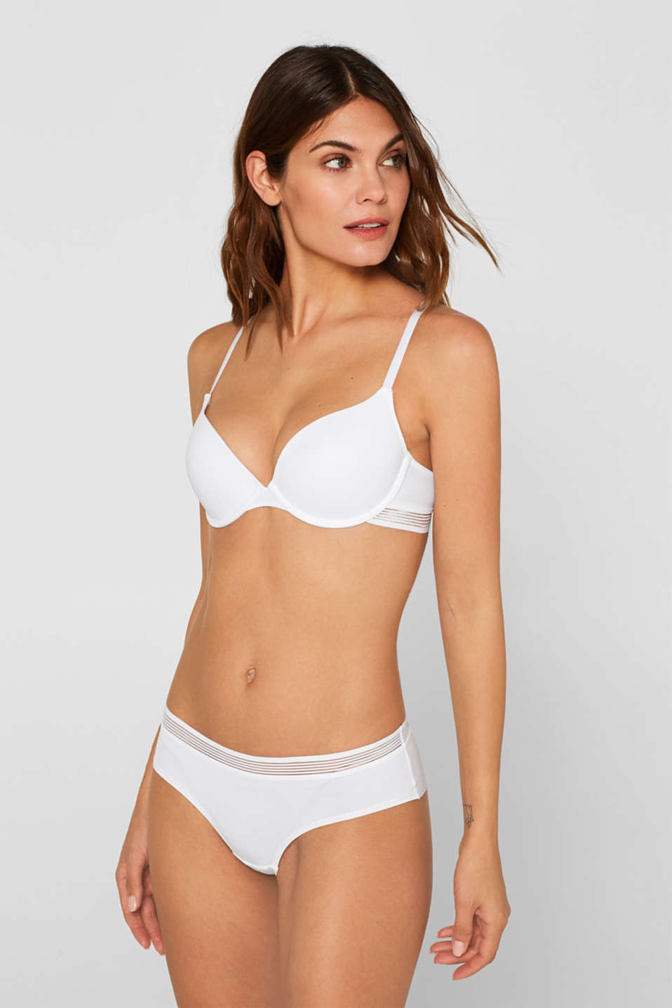 Push-up bra with sheer stripes, WHITE, detail