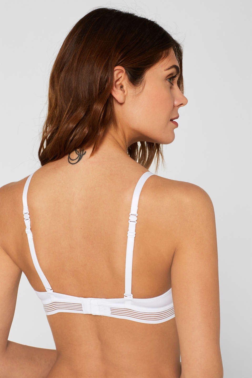 Push-up bra with sheer stripes, WHITE, detail image number 4