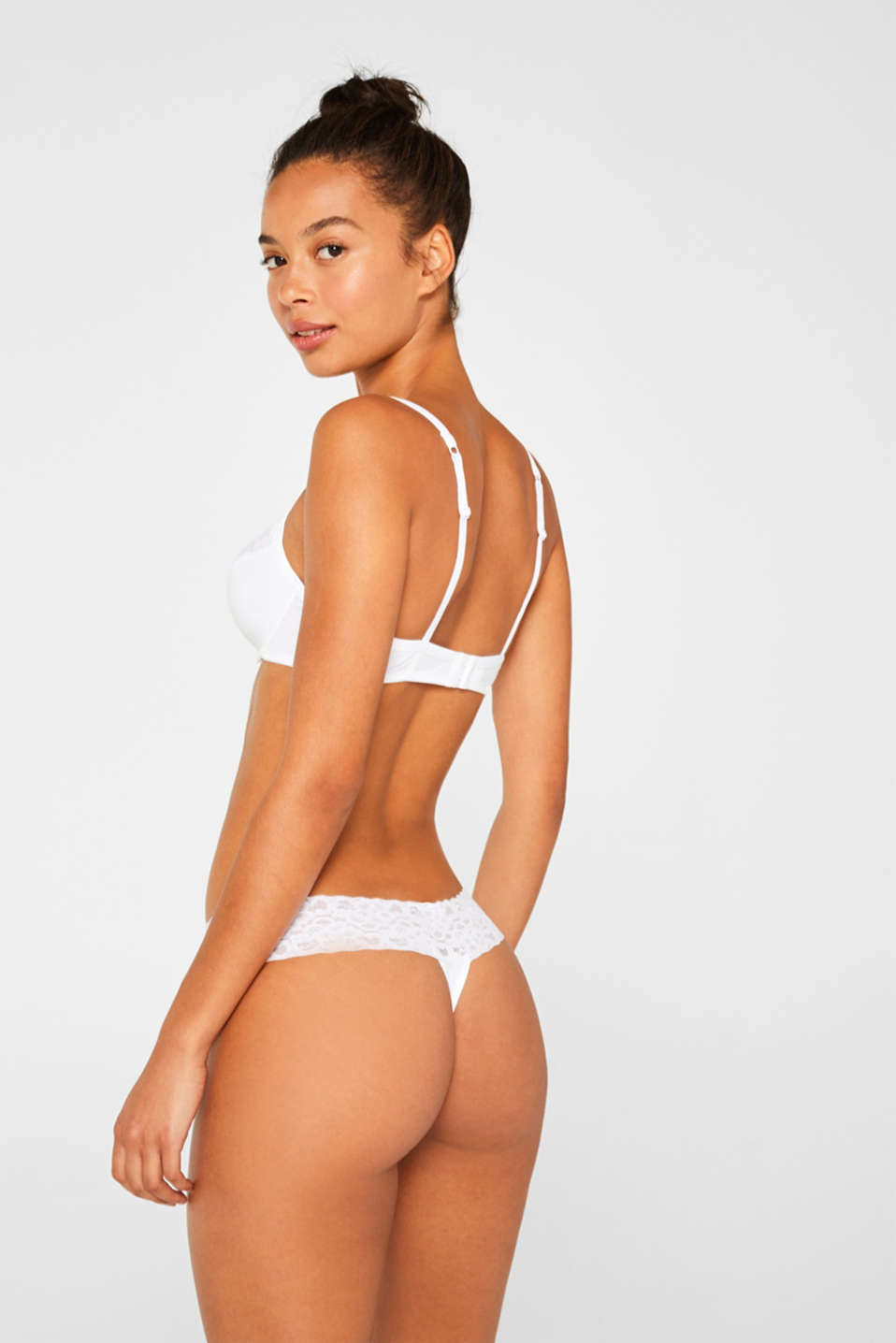 Hipster thong with a lace waistband in a double pack, WHITE, detail image number 2