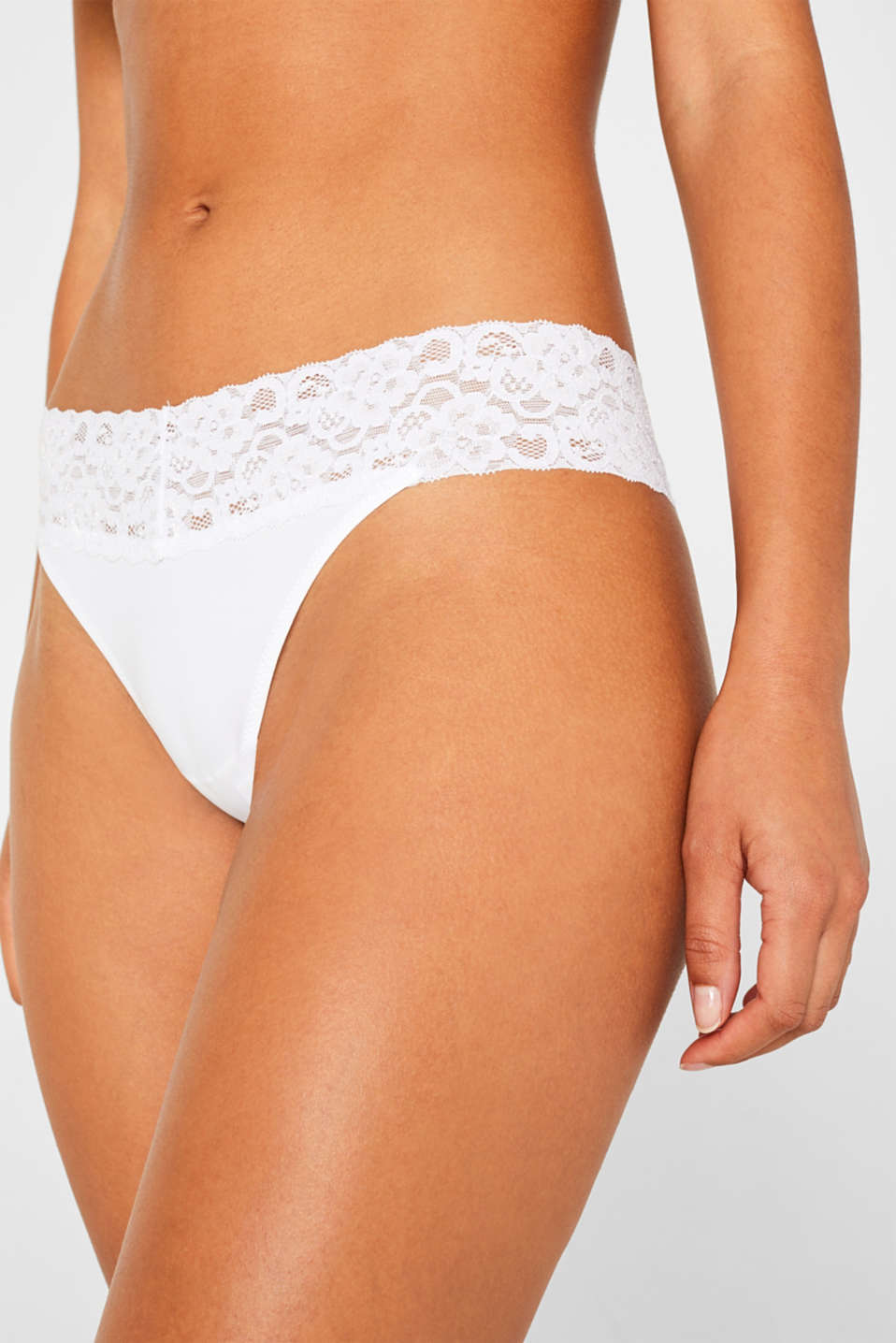 Hipster thong with a lace waistband in a double pack, WHITE, detail image number 1