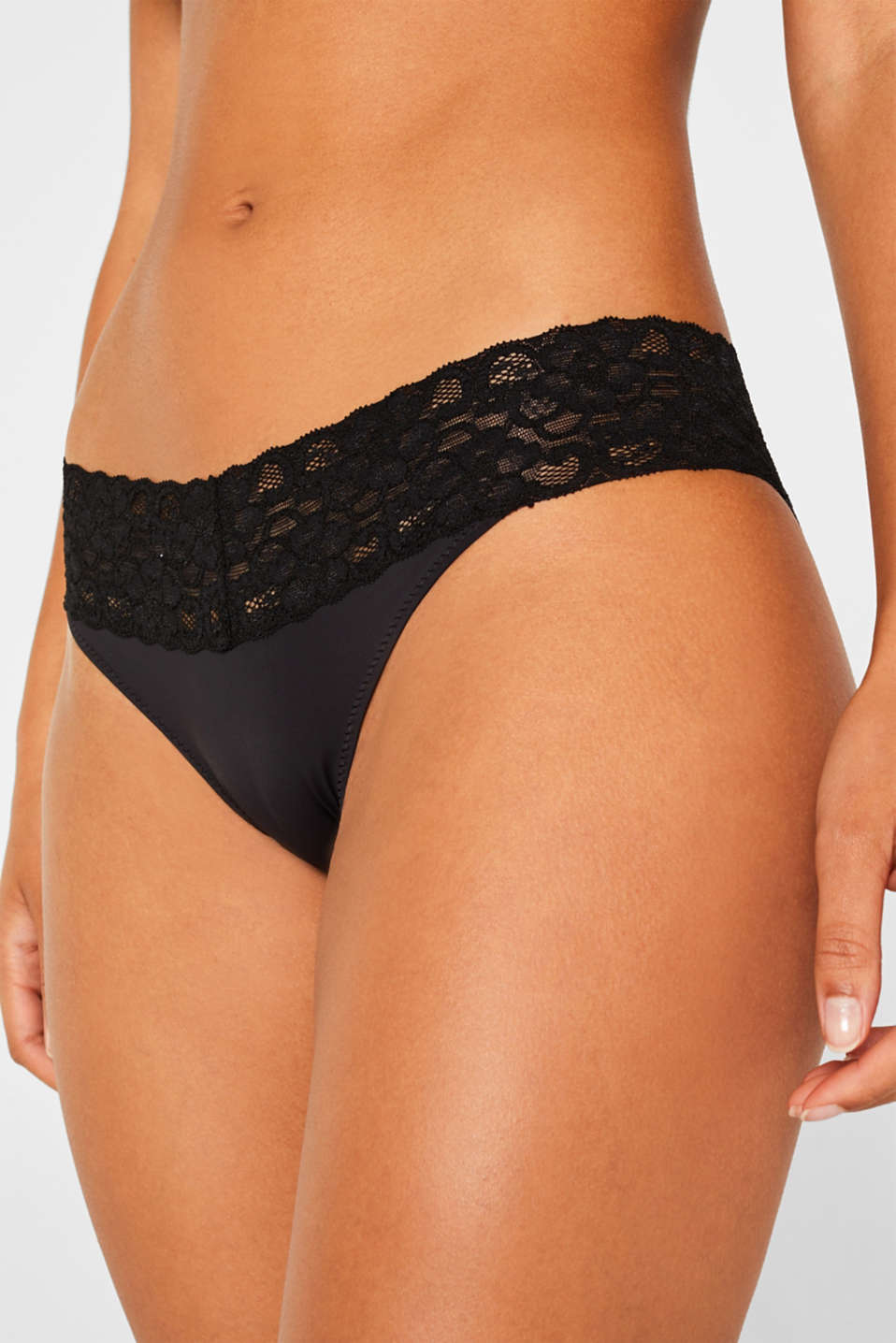 Hipster briefs with a lace waistband in a double pack, BLACK, detail image number 0