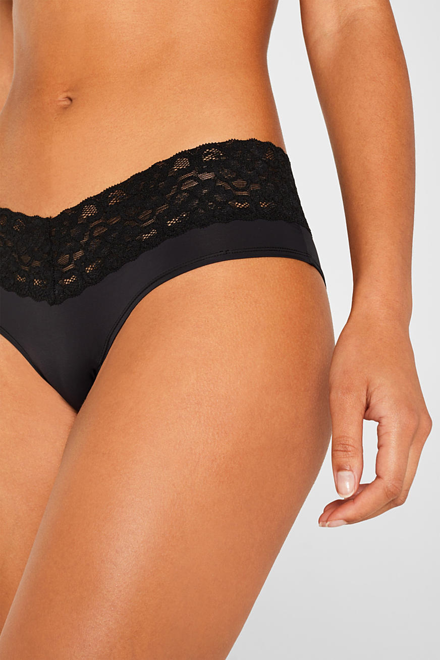 Hipster shorts with a lace waistband in a double pack