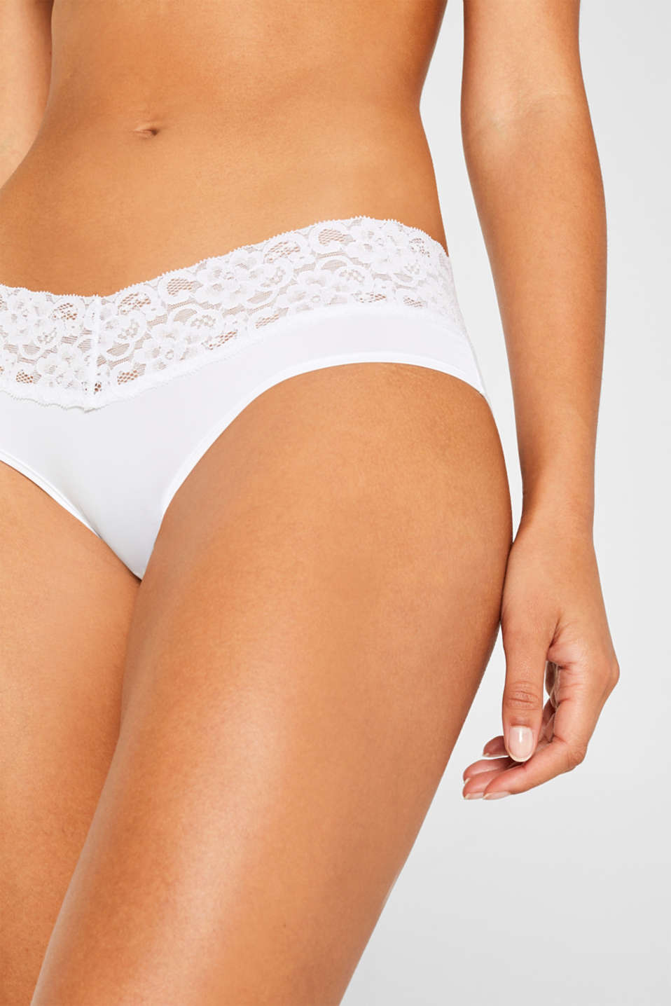 Hipster shorts with a lace waistband in a double pack, WHITE, detail image number 0