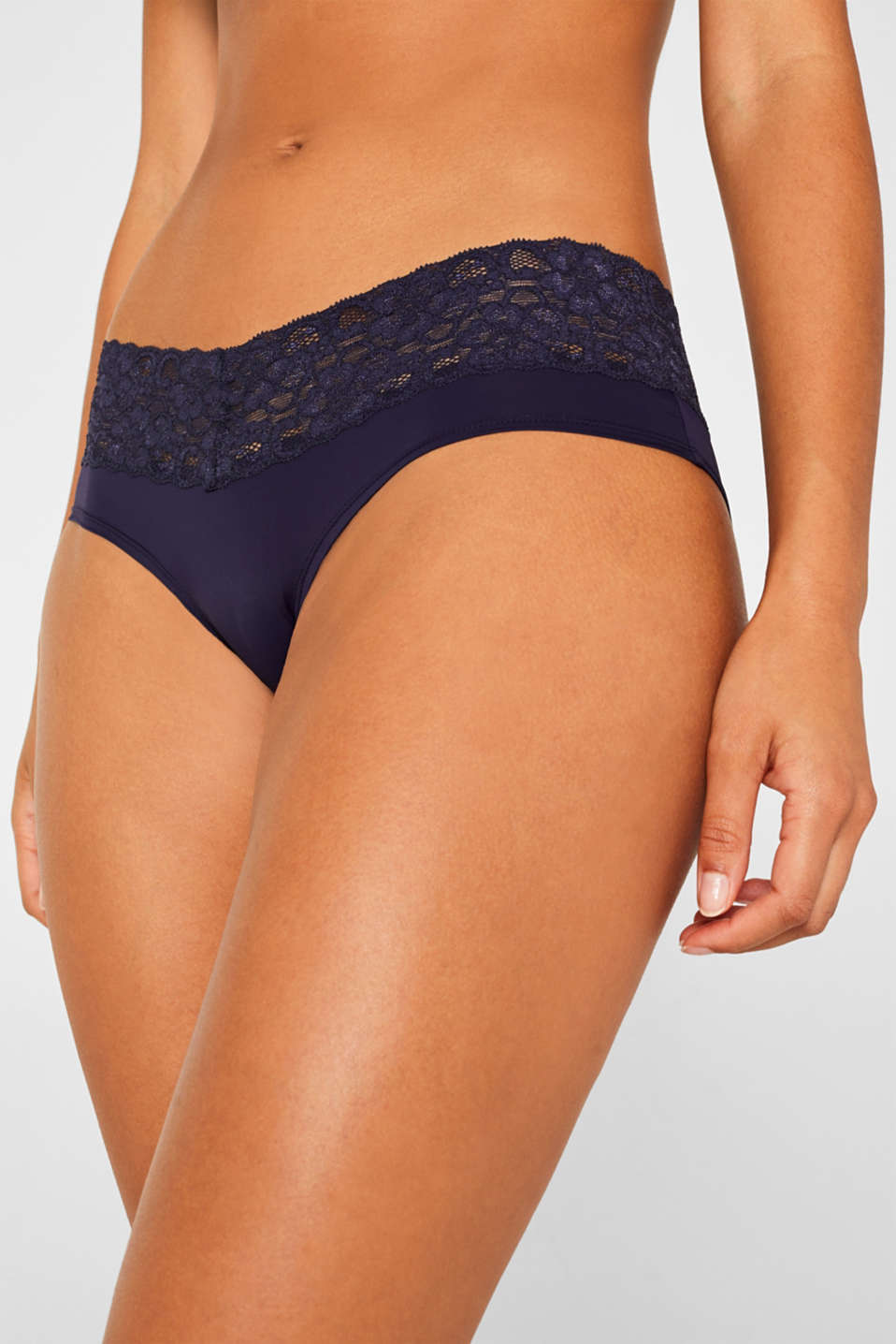 Hipster shorts with a lace waistband in a double pack, NAVY, detail image number 0