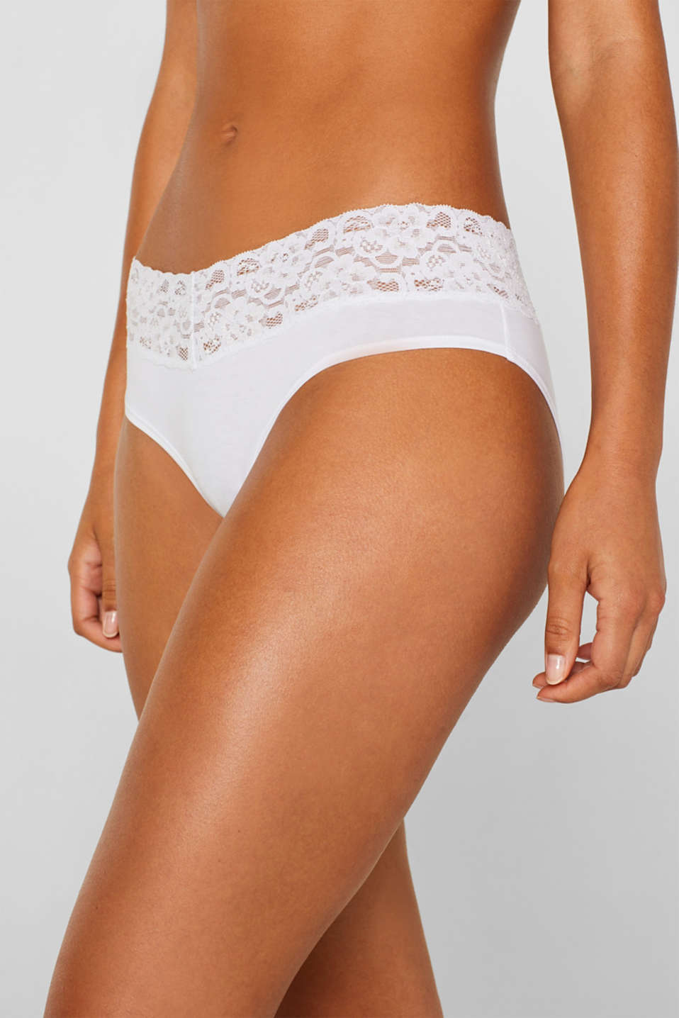 Hipster shorts with a lace waistband in a double pack, WHITE, detail image number 1