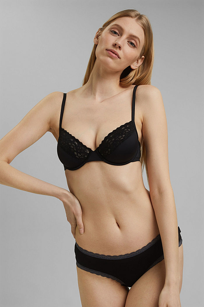 Unpadded underwire bra with lace, BLACK, detail image number 0