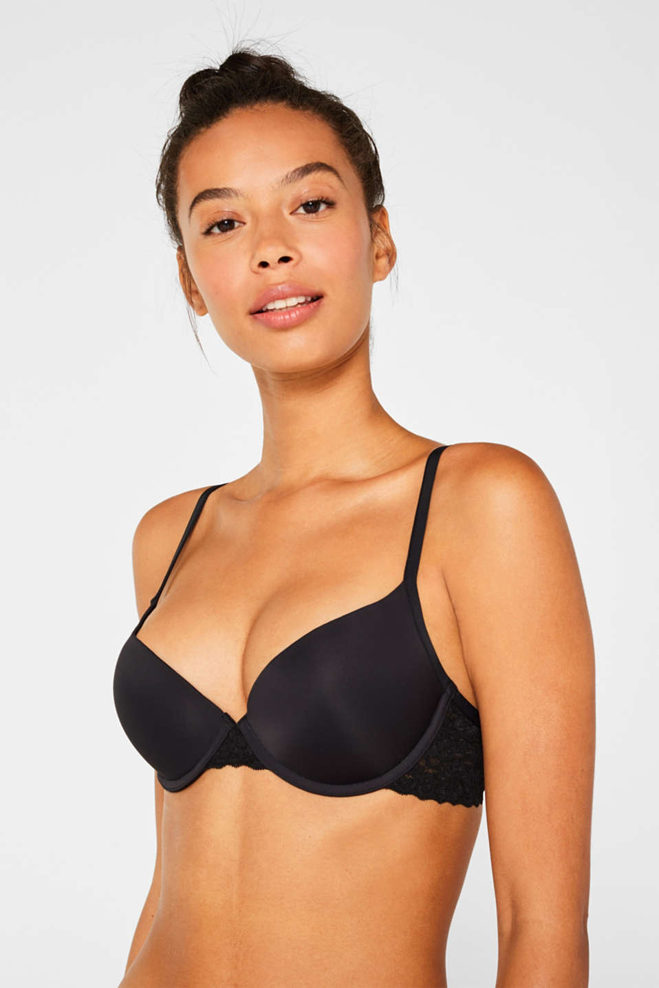 Push-up bra with lace details, BLACK, detail image number 0