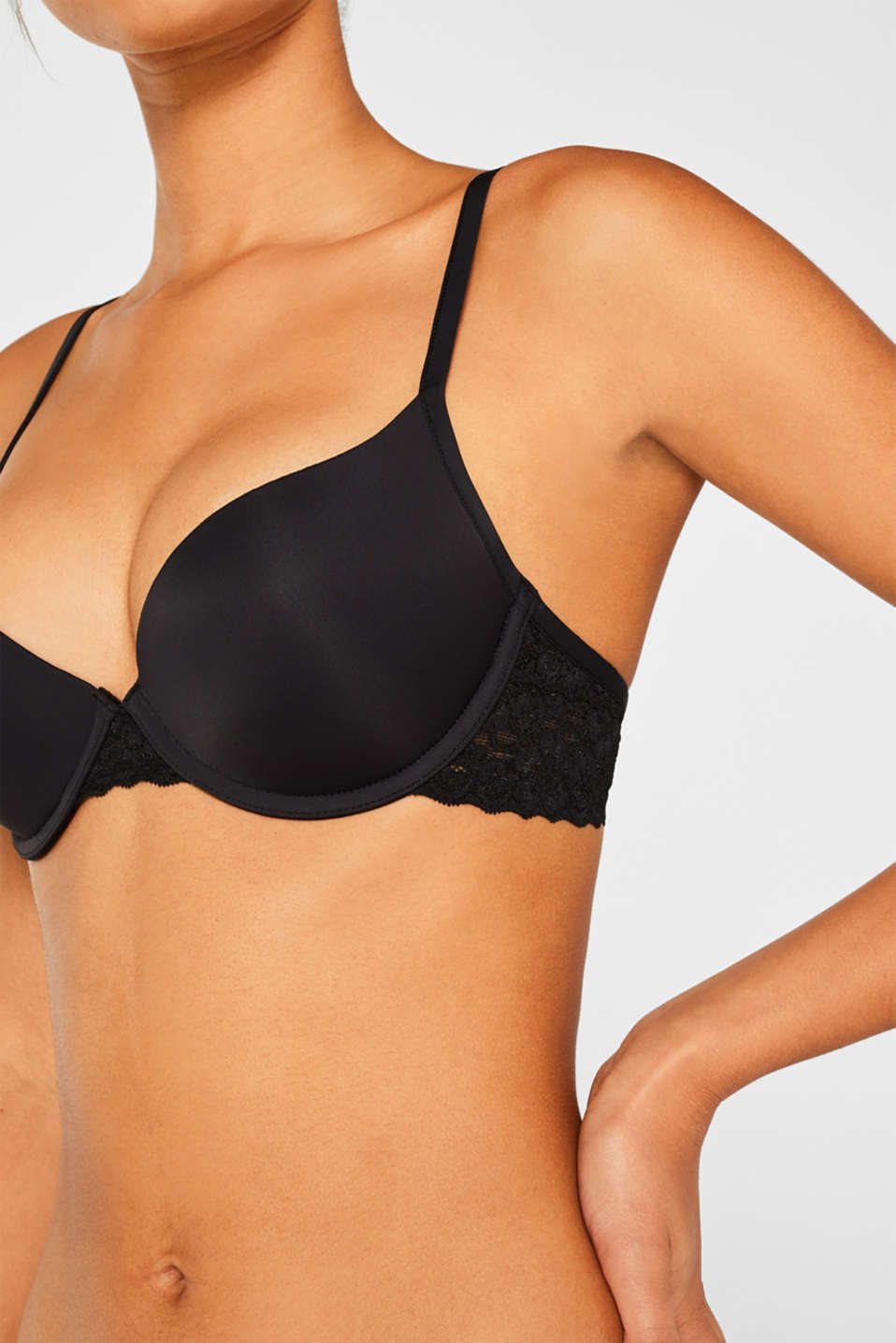 Push-up bra with lace details, BLACK, detail image number 2