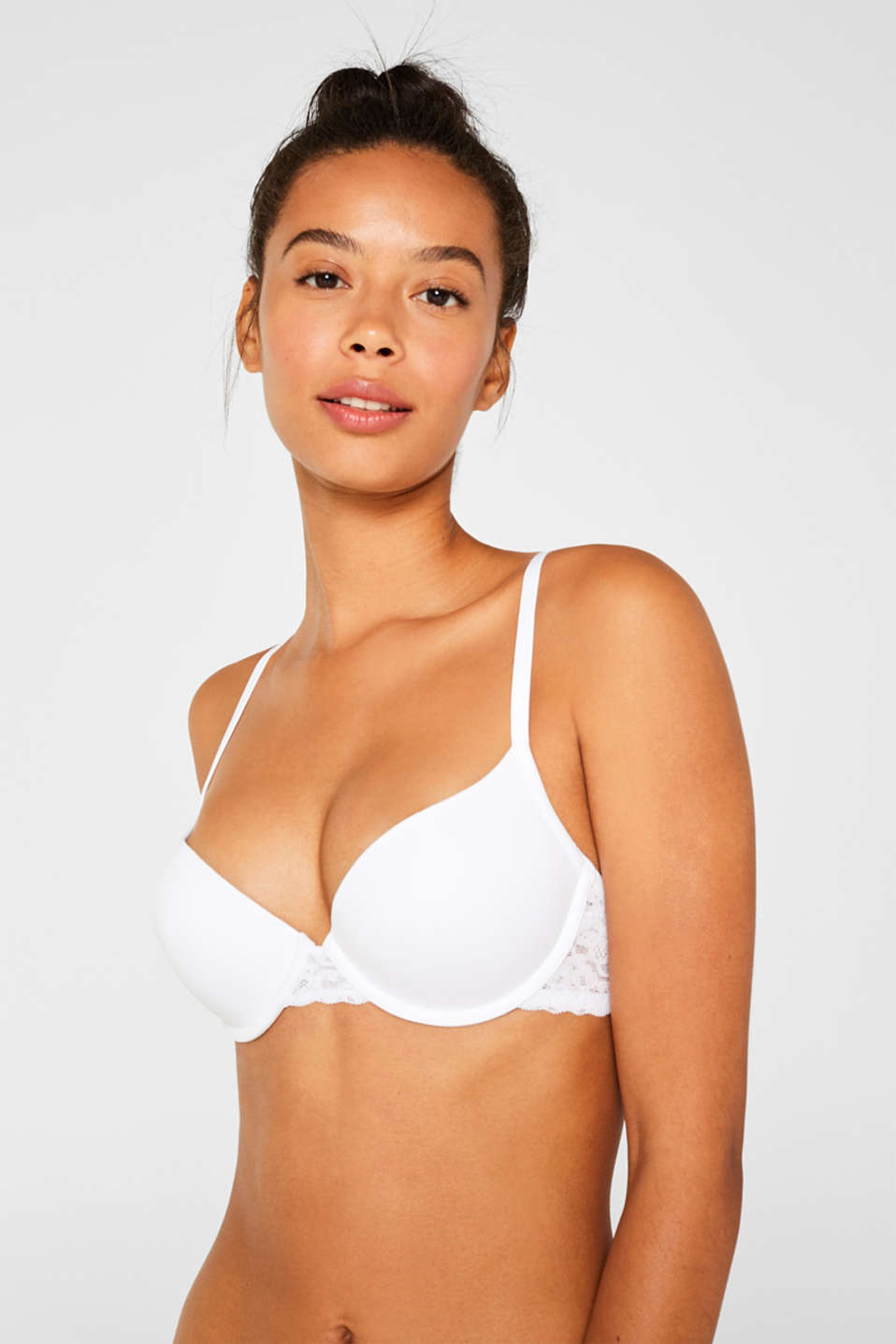 Push-up bra with lace details, WHITE, detail image number 0