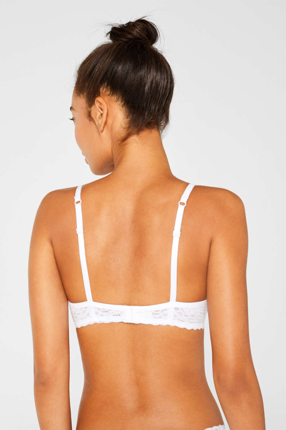 Push-up bra with lace details, WHITE, detail image number 1