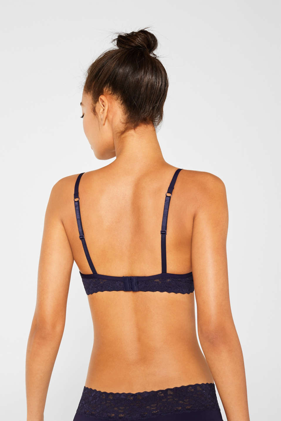 Push-up bra with lace details, NAVY, detail image number 1