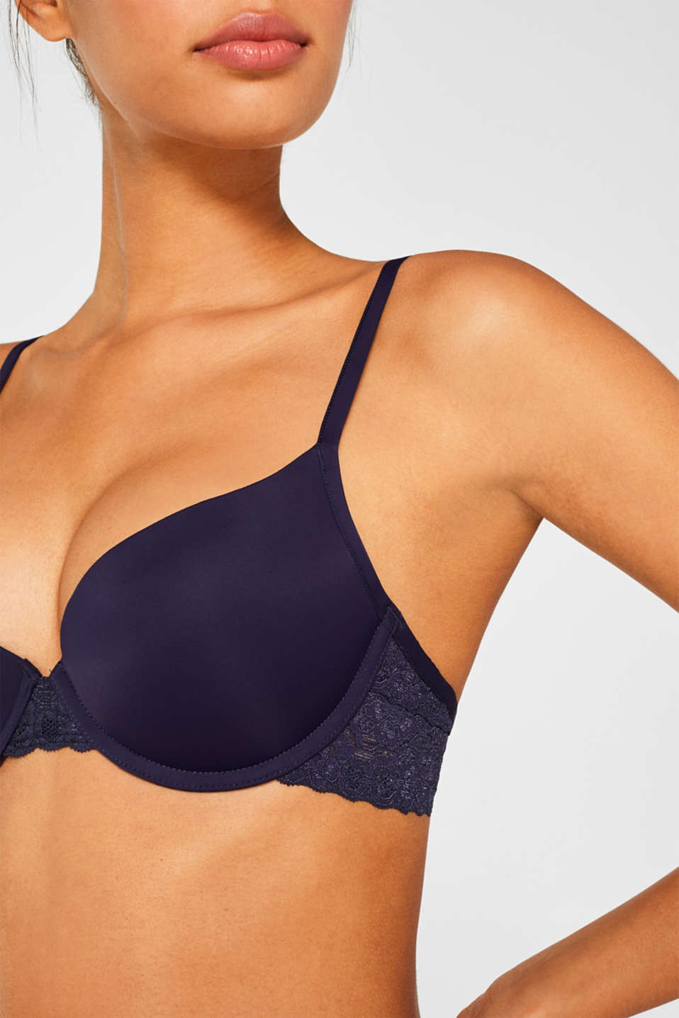 Push-up bra with lace details, NAVY, detail image number 2