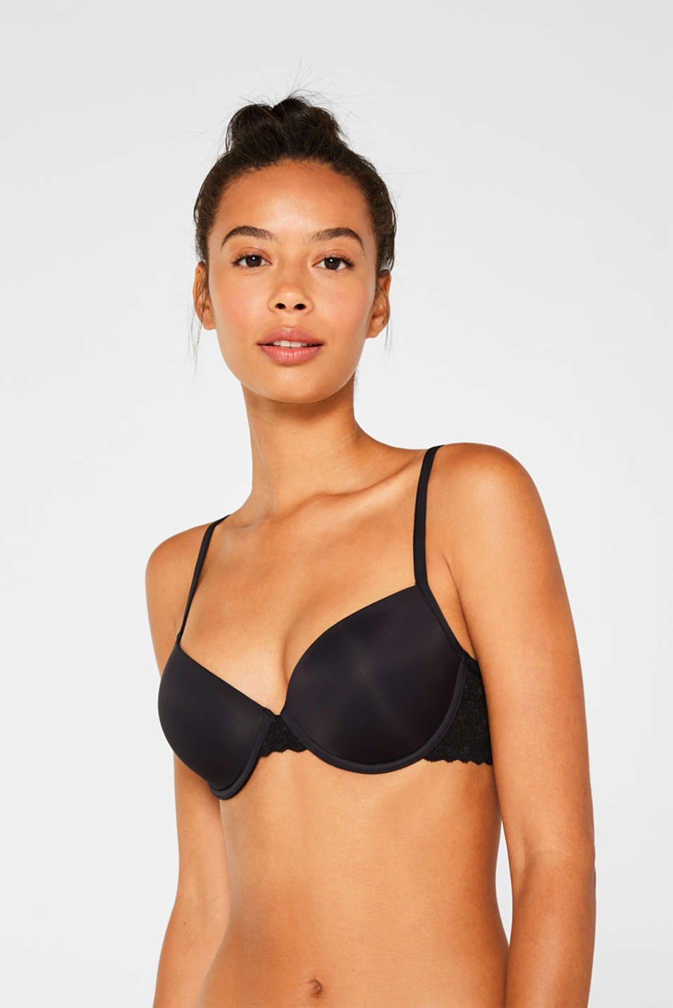 Padded underwire bra with lace, BLACK, detail image number 0