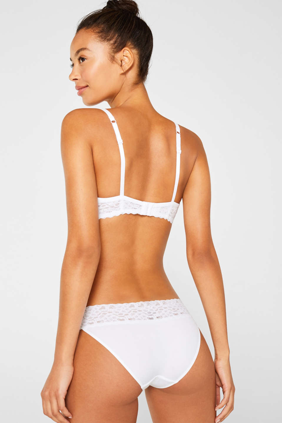 Padded underwire bra with lace, WHITE, detail image number 1
