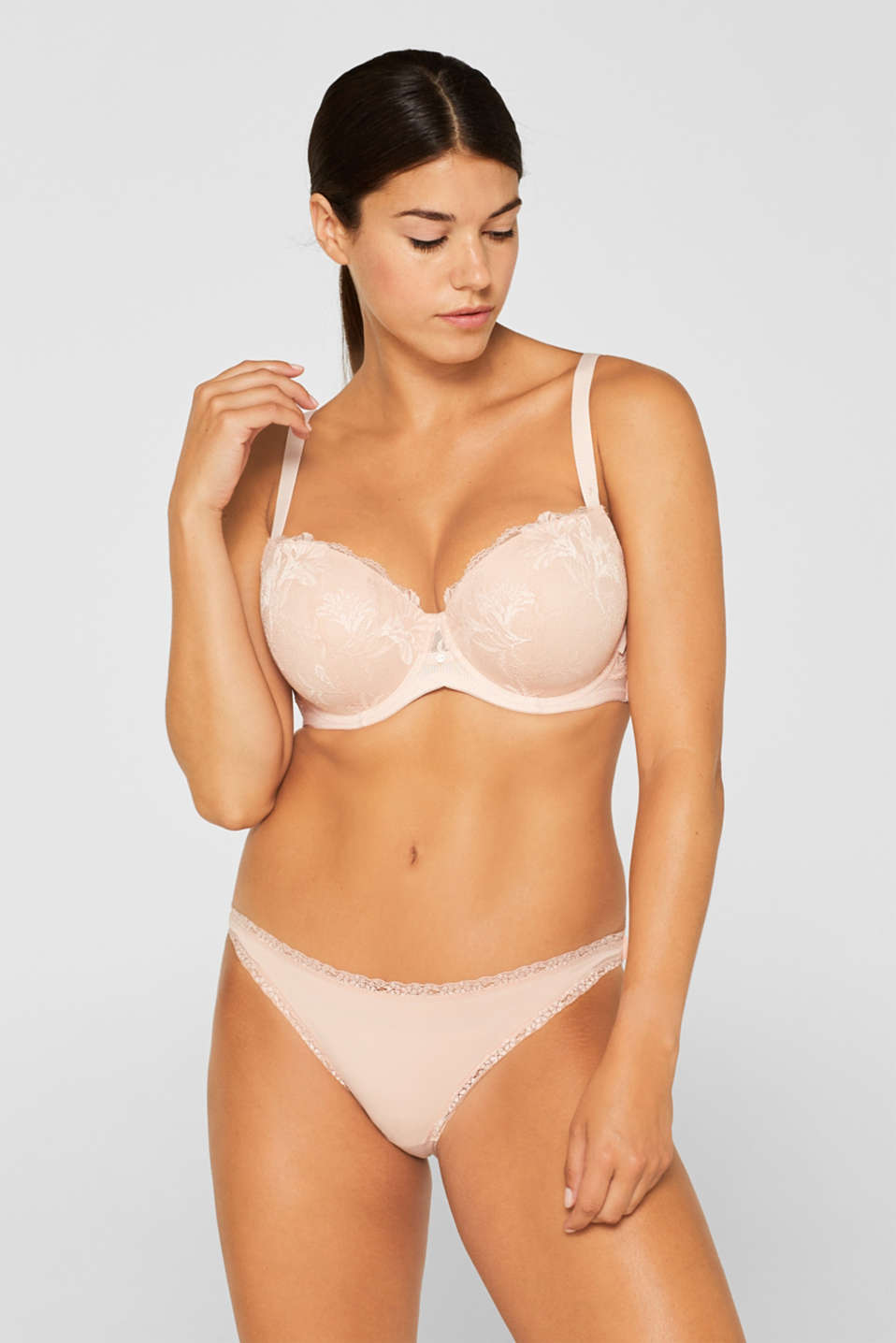 Padded underwire bra with lace, for larger cup sizes, PASTEL ORANGE, detail image number 2