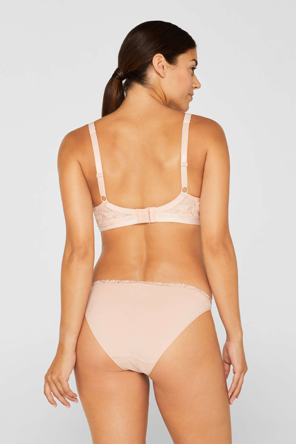 Padded underwire bra with lace, for larger cup sizes, PASTEL ORANGE, detail image number 1
