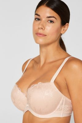 Padded underwire bra with lace, for larger cup sizes, PASTEL ORANGE, detail