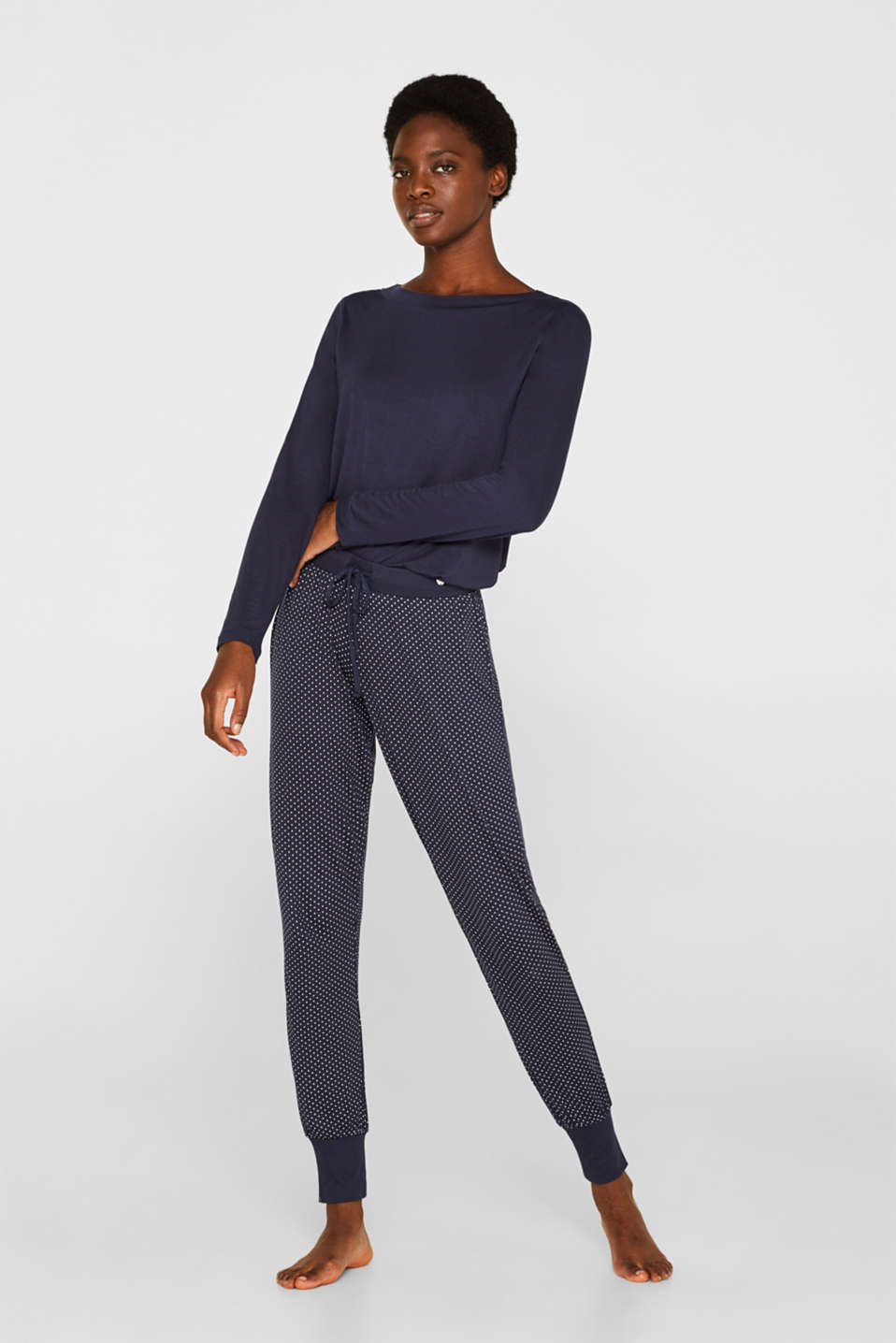 NAVY mix + match stretch jersey trousers, NAVY, detail