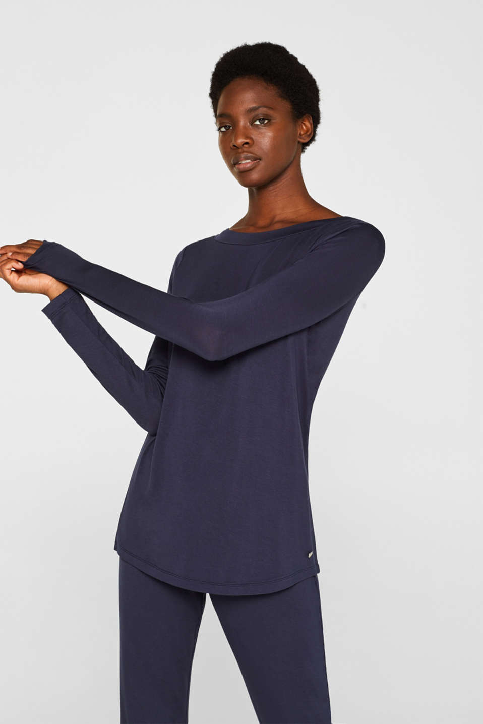 NAVY mix + match stretch long sleeve top, NAVY, detail image number 1
